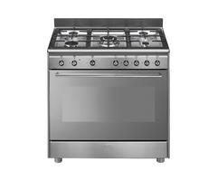 New Smeg 90cm Full Gas Stainless Steel Cooker -