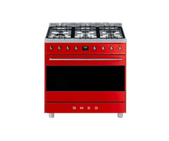 New Smeg 90cm Red Gas/Electric Cooker