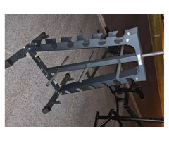 Trojan Dumbell, Weight Plates and Barbell Weight Stack/Rack for Sale!