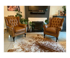 Genuine Leather Wingback Chairs