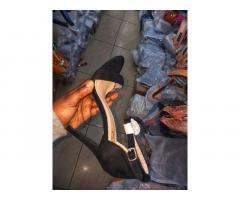 Sizes 3-8 black peeptoe heels