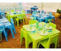Sunny Kiddies plastic chairs and tables