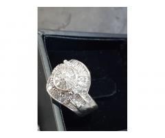Wedding Ring Diamond Round Cluster White Gold