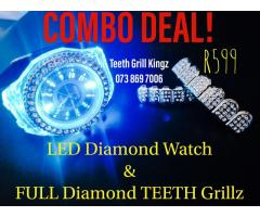 LED Diamond Watch & FULL Set Diamond Teeth Grillz