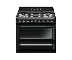 Smeg 90cm Victorian Black 5 Burner Gas/Electric- TR90BL9